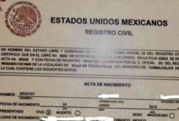 Bautizan como 'Brexit' a bebé en México