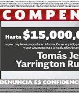 Fiscalía ofrece 728.000 dólares para hallar exgobernador mexicano Yarrington