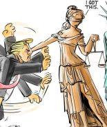 Caricatura se hace viral por encarnar pleito de Trump con la justicia