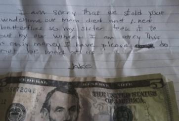 Niño dejó una nota con 5 dólares disculpándose por haber robado