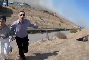 Conductores cortaron cerco y escaparon de incendio en autopista de CA