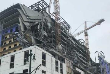 Un cuerpo aún se puede ver colgado en ruinas del colapso de Hard Rock