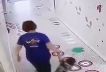 VIDEO: Captan a dueña de guardería arrastrando a un pequeño