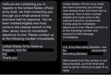 El mensaje de servicio militar obligatorio es falso