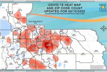 Mapa actualizado de casos de COVID-19 por código postal
