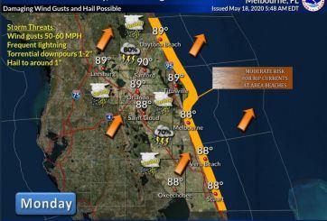 Fuertes tormentas y mal tiempo hoy en Florida Central
