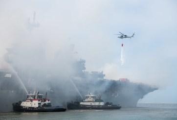 Desmantelaran buque USS Bonhomme Richard tras incendiarse en Base Naval de San Diego