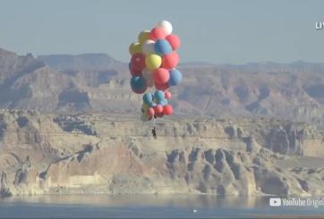 Ilusionista logró volar sobre Arizona usando solo globos con helio