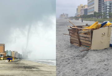 VIDEO: Tornado sorpresivo tocó tierra en playa de Carolina del Sur