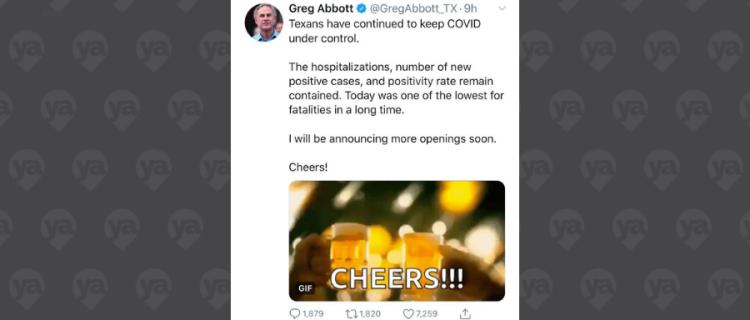 ¿Abrirán bares en Texas? Tweet del gobernador genera controversia