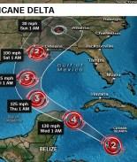 Huracán Delta se intensifica rapidamente, ya es categoría 4