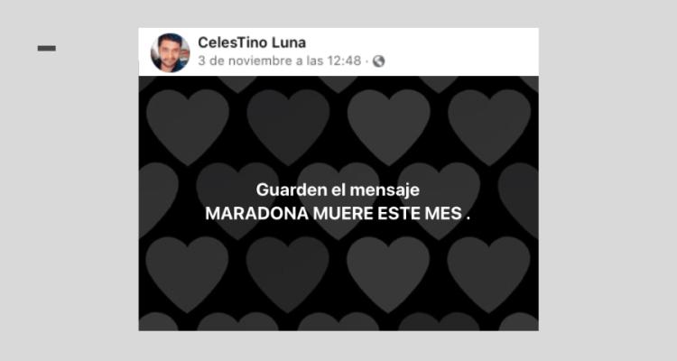 Hombre predice la muerte de Maradona a principios de mes