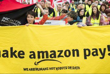 Empleados de Amazon en huelga mientras comienza el Black Friday