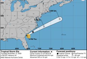 Tormenta Tropical Eta ya no representa una amenaza para Florida