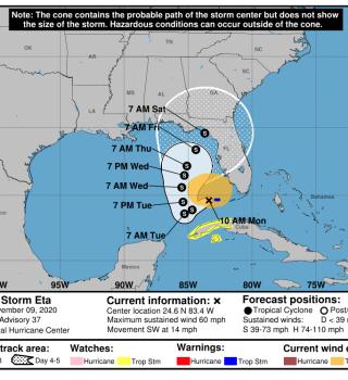 Eta comienza a sentirse en Florida Central y en la bahía de Tampa