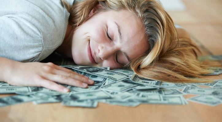 sleeping on money
