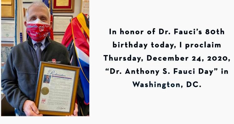 Alcaldesa de Washington, D.C. proclama este día en honor al Dr. Fauci