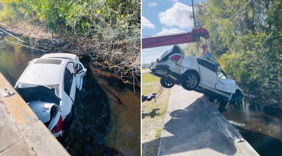 Accidente mortal: Joven cayó 20 pies con su auto en un estanque