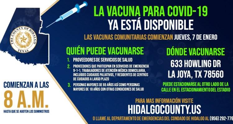 Segunda clínica comunitaria de vacunas de COVID-19 será en La Joya