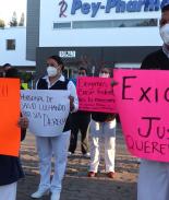 Enfermeros combatiendo COVID en Hospital General en Tijuana exigen mejores salarios