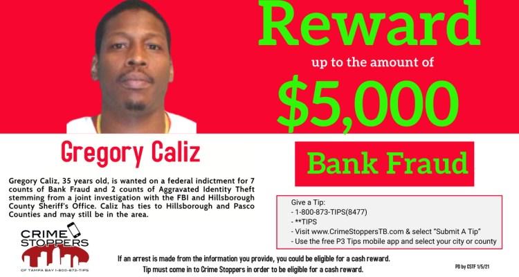 Recompensa de $5,000 por sospechoso de fraude bancario en Tampa