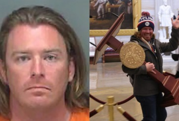 Arrestan a hombre captado cargando atril de Pelosi durante motín
