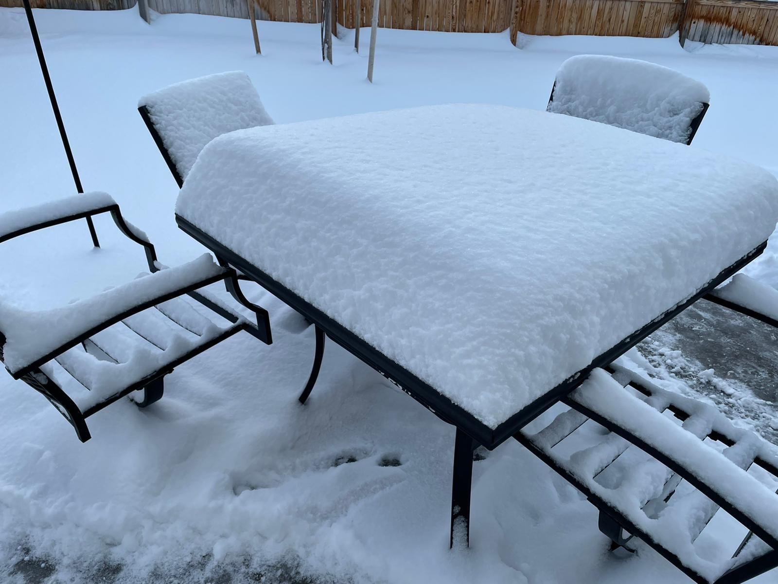 Mesa llena de nieve