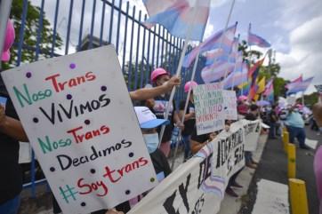 Manifestante en San Salvador