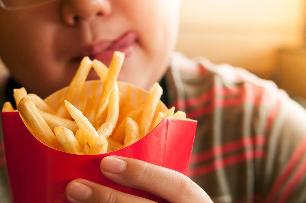 Niño con papas fritas