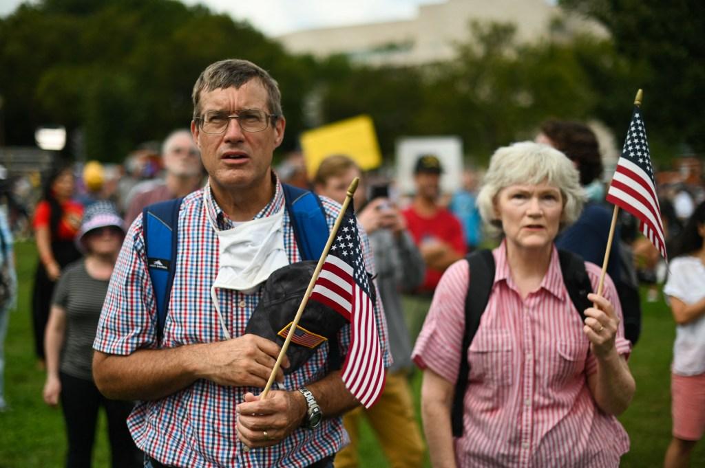 Manifestantes cerca del Capitolio, 18 de septiembre de 2021